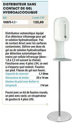 Distributeur sans contact de gel hydroalcoolique