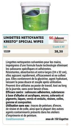 Lingettes nettoyantes kresto special wipes