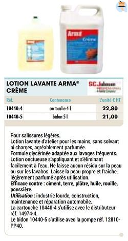 Lotion lavante arma crème