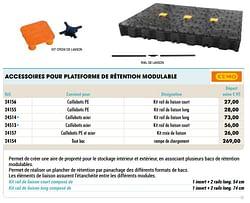 Accessoires pour plateforme de rétention modulable caillebotis pe