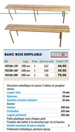 Banc bois empilable