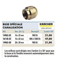 Buse spéciale canalisation