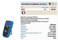 Chauvin arnoux multimètre numérique mtx203-z