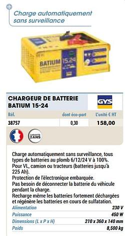 Gys chargeur de batterie batium 15-24