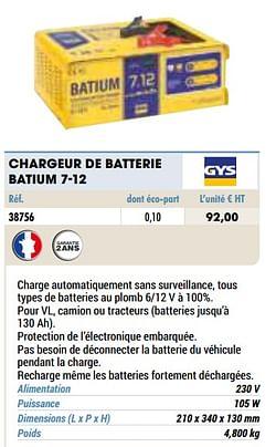 Gys chargeur de batterie batium 7-12