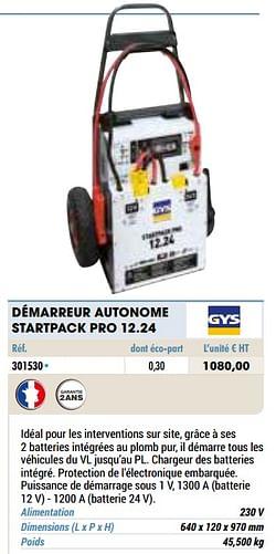 Gys démarreur autonome startpack pro 12.24