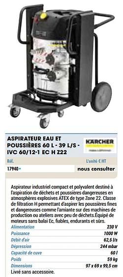 Kärcher aspirateur eau et poussières s - ivc 60-12-1 ec h z22