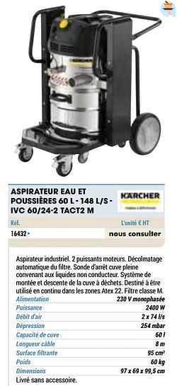 Kärcher aspirateur eau et poussières s - ivc 60-24-2 tact2 m