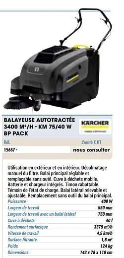 Kärcher balayeuse autotractée 3400 m2-h - km 75-40 w bp pack
