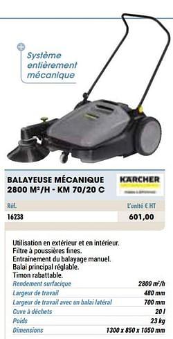 Kärcher balayeuse mécanique 2800 m2-h - km 70-20 c