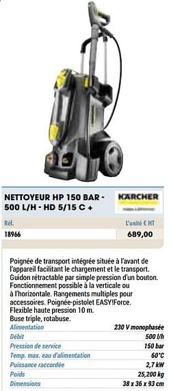 Kärcher nettoyeur hp 150 bar - 500 l-h - hd 5-15 c +