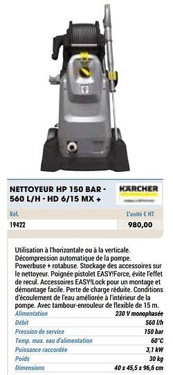 Kärcher nettoyeur hp 150 bar - 560 l-h - hd 6-15 mx +