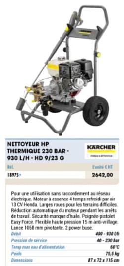 Karcher nettoyeur hp thermique 230 bar - 930 l-h hd 9-23 g
