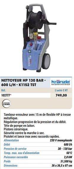Kranzle nettoyeur hp 130 bar - 600 l-h - k1152 tst