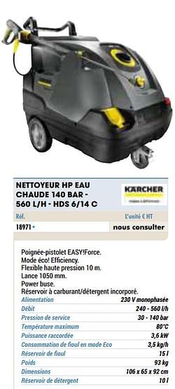 Kärcher nettoyeur hp eau chaude 140 bar - 560 l-h - hds 6-14 c