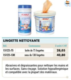 Lingette nettoyante