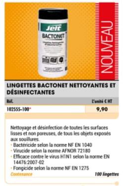Lingettes bactonet nettoyantes et desinfectantes