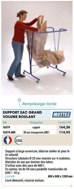 Support sac grand volume roulant