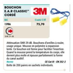 Bouchon e.a.r classic- cordé