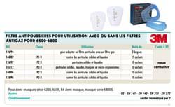 Filtre antipoussières pour utiusatton avec ou sans les filtres antigaz pour 6500-6000