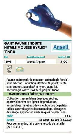 Gant paume enduite nitrile mousse hyflex 11-818