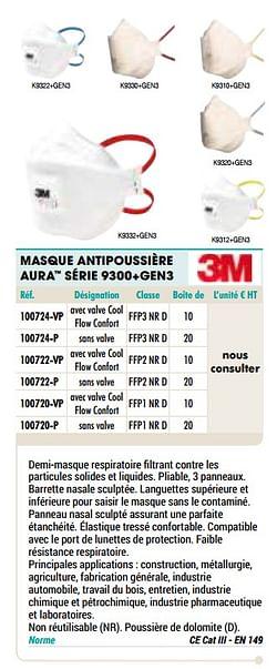Masque antipoussière aura série 9300+gen3