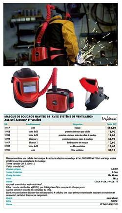 Masque de soudage navitek s4 avec système de ventilation assisté airkos et visière