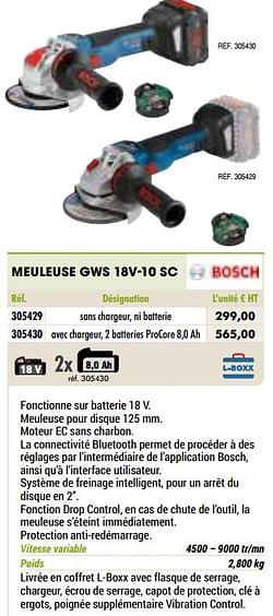 Bosch meuleuse gws 18v-10 sc