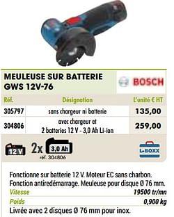 Bosch meuleuse sur batterie gws 12v-76