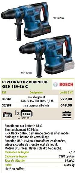 Bosch perforateur burineur gbh 18v-36 c