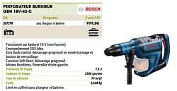 Bosch perforateur burineur gbh 18v-45 c