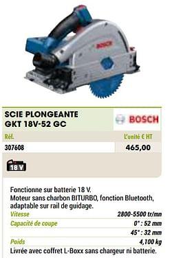 Bosch scie plongeante gkt 18v-52 gc