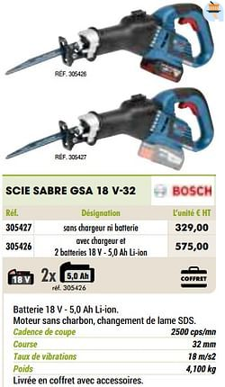 Bosch scie sabre gsa 18 v-32