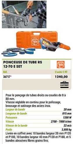 Fein ponceuse de tube rs 12-70 e set
