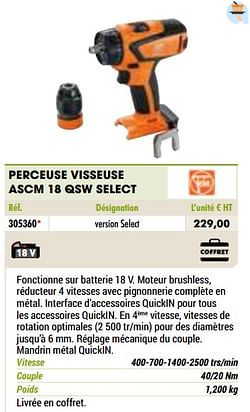 Fein perceuse visseuse ascm 18 qsw select