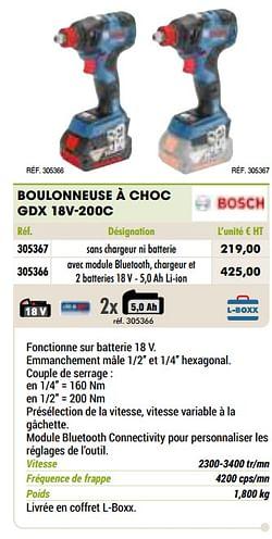 Bosch boulonneuse à choc gdx 18v-200c