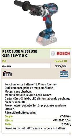 Bosch perceuse visseuse gsr 18v-110 c