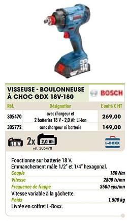 Bosch visseuse - boulonneuse à choc gdx 18v-180