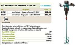 Collomix mélangeur sur batterie xo 10 nc
