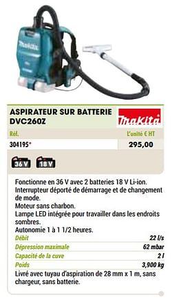 Makita aspirateur sur batterie dvc260z