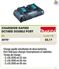 Makita chargeur rapide dc18rd double port
