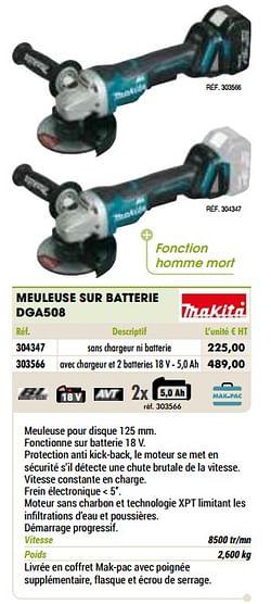 Makita meuleuse sur batterie dga508