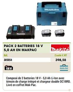 Makita pack 2 batteries 18 v 5,0 ah en makpac