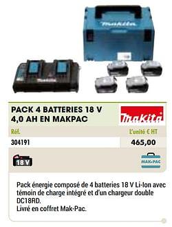 Makita pack 4 batteries 18 v 4,0 ah en makpac