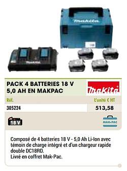 Makita pack 4 batteries 18 v 5,0 ah en makpac