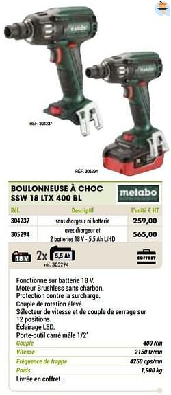 Metabo boulonneuse à choc ssw 18 ltx 400 bl