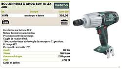 Metabo boulonneuse à choc ssw 18 ltx 600