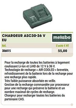 Metabo chargeur asc30-36 v eu