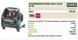 Metabo compresseur power 160-5 18 ltx bl of