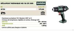 Metabo décapeur thermique hg 18 ltx 500